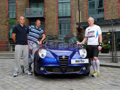 Iwan Thomas, Andy Turner and Chris Tomlinson With The Alfa Romeo MiTo