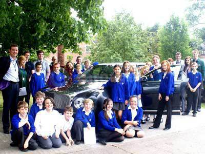 Year 6 children From Croft Primary School With The Bentley Mulsanne