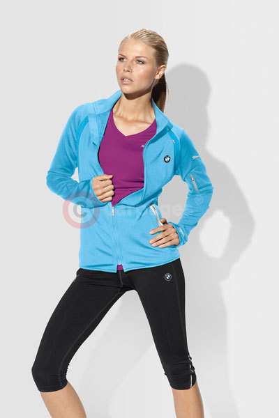 BMW Ladies' Soft Shell Jacket (light blue) £118, BMW Ladies' Running Shorts (black) £34, BMW Ladies' Running T-Shirt (berry) £34