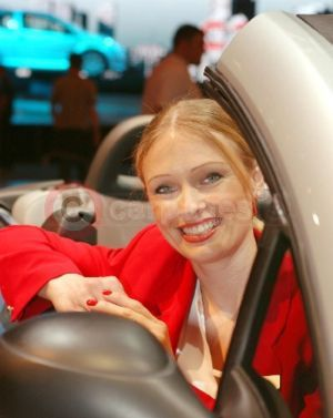 The nations favourite Katrina Leeder from ITV's Airline programme looks after the public on the Citroen stand.