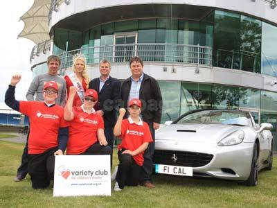 Jason Plato; Jessica Linley; Tim Harvey; Mike Brewer; James Jackman; Alex Waltham and Liam Peedell With The Ferrari California