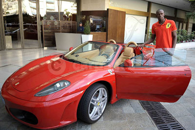 Usain Bolt With the Ferrari F430 Spider