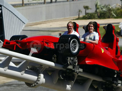 Noel Edmonds and Tyler Holpin On the Ferrari Rollercoaster At Ferrari World In Abu Dhabi