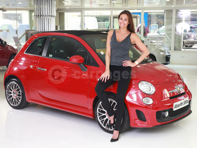 Melanie Skyes with her Abarth 500C (2014)