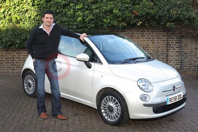 Tom Chambers With His Fiat 500