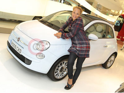 Angela Griffin With Her Fiat 500C