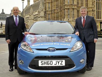 Mark Prisk and Joe Greenwell With The Round The World Ford Fiesta