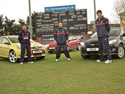 Ravi Bopara, Graham Gooch and Alastair Cook With The All New Ford Focus