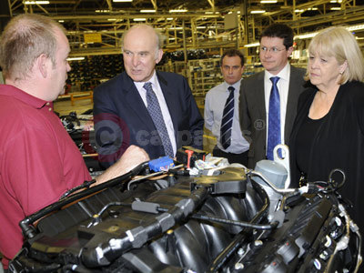Vince Cable With A Ford Engine Technician