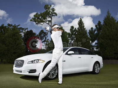 Ian Poulter With The Jaguar XJ