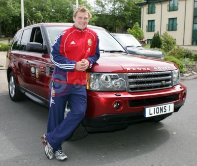 Josh Lewsey with a Lions' Range Rover Sport