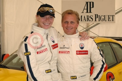 Supermodel Jodie Kidd and Johnny Herbert at Silverstone