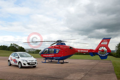 Mazda2 with the Devon Air Ambulance Helicopter