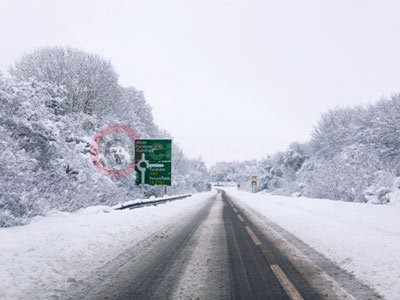 Snow Covered Road In The UK