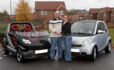 Jason and Amanda Kearins With Their smart crossblade and fortwo