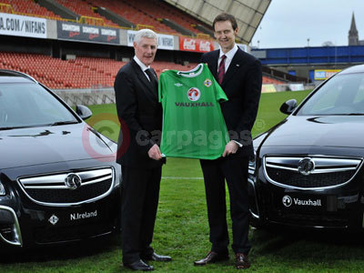 Nigel Worthington (Northern Ireland International Manager) and Duncan Aldred (Managing Director, Vauxhall)