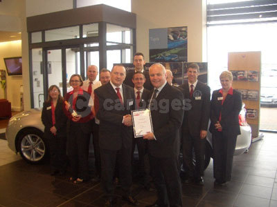 Moorland Motor's Managing Director Tony Boyd Recieving The Aftersales Service Award